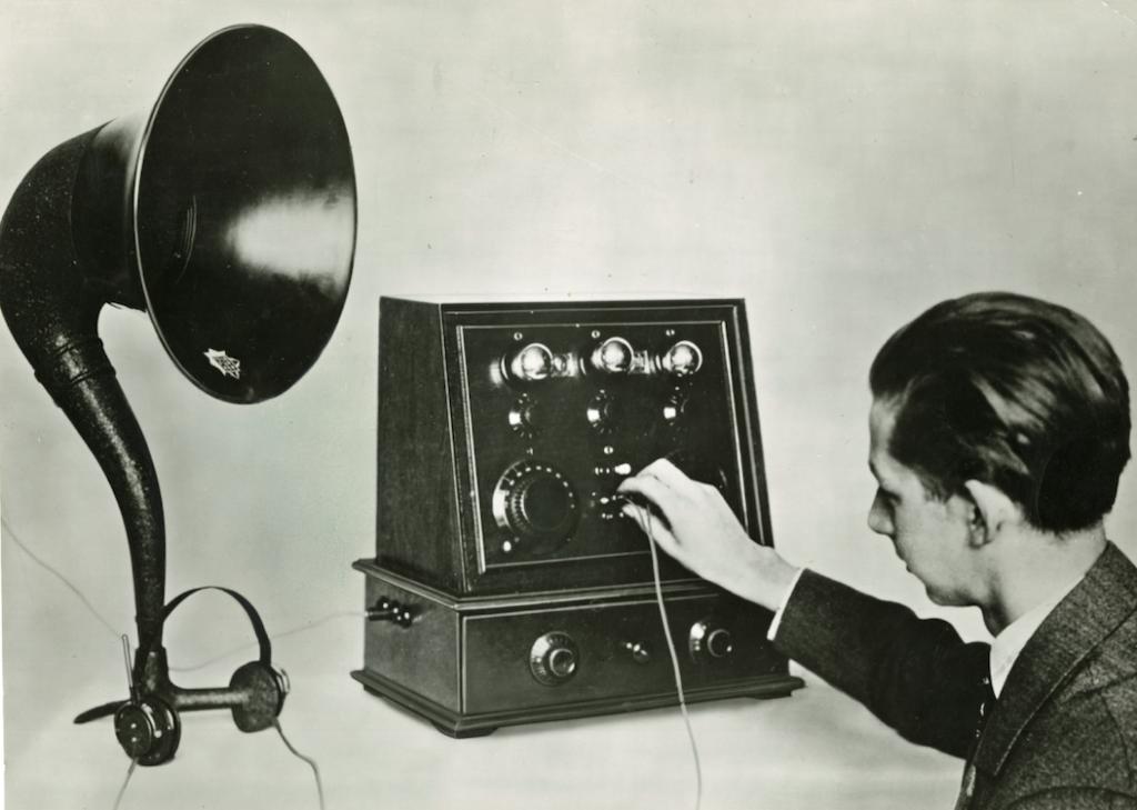 Mann am Detektor, 1920er, Foto: MSPT