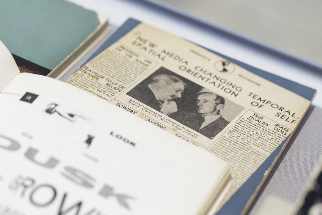 Marshall McLuhans Bücher, Ausstellung Feedback 5, Foto: Foto: ©Stefanie Kösling / MSPT